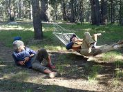There's no rest like a well deserved rest: Diego walked from Mexico to rest up with us in Tuolumne meadows.