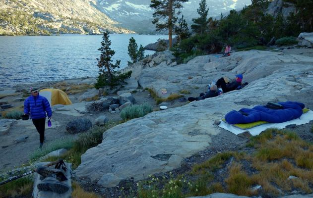 My blue sleeping bag is laid out with a view of Garnet Lake