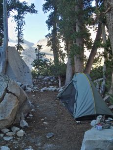 Set up with a view down LeConte Canyon