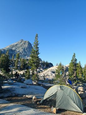 Camped near the outlet of Smedberg Lake with Junction Peak overlooking us.