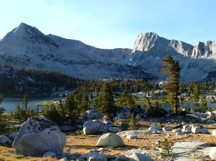 A Room With A View: Twin tents camped our in Lakes Basin.